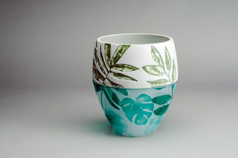 Ceramic and Glass pot by Beth Antliff